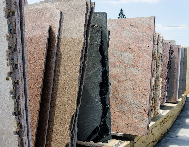 Colorful granite slabs for sale in Lake Worth store showroom